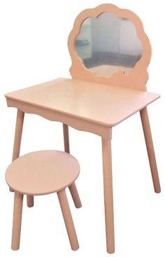 Pink Vanity Dressing Table Mirror & Stool Kids Children Girls Boys Furniture