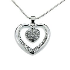 Valentines Day Gift for Her Women Wife Girlfriend Silver Heart Pendant Necklace  #ValentinesNecklace