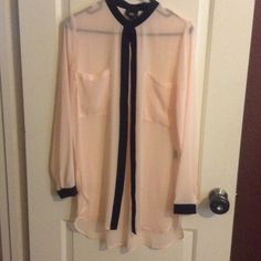 Target Top Very light pink/cream color with black accents ❤️Long oversized Blouse Adorable fit ❤️Never worn Sheer ❤️Make me an offer  Mossimo Supply Co. Tops Blouses
