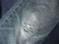 Patching Jeans in Minutes Tutorial - Don't be distraught over ripped-up pants anymore! This tutorial on how to patch holes in jeans will revive your fave fashion essential in minutes.