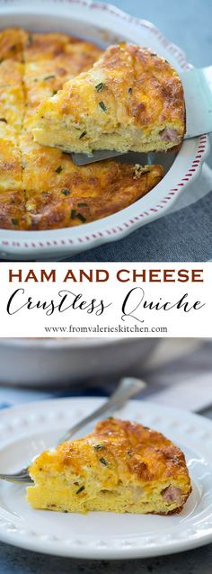 This Ham and Cheese Crustless Quiche is easy to make and a little easier on the waistline than traditional quiche. A great use for leftover holiday ham!