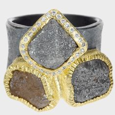 trdr489-raw | 18ky gold, sterling silver with patina, raw diamonds(11.68ctw), white brilliant sut diamonds(.112 ctw)