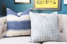 Blue Pillow Cover - Modern Indigo Blue - Blue Organic Pillow Cover - Motif Pillows -Blue and Ivory Stripe - Dark Blue Decor by MotifPillows on Etsy https://www.etsy.com/listing/480314821/blue-pillow-cover-modern-indigo-blue