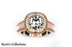 Personalized Engraved 14k Rose Gold Moissanite and Diamond Double Halo Engagement Ring (Free Laser Engraving)