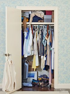 This bedroom closet had become a disorganized catchall for clothes, accessories, and random clutter.