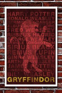 Gryffindor House Banner - Harry Potter Art Print - 11x17. $12.99, via Etsy.