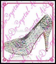 1043db618e066 Aidocrystal 2016 new design handmade AB color 10cm high heel crystal dress  shoes for women Crystal