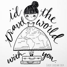 Travel With You. Day 94 of yearlong sketchbook project. Cassie Loizeaux
