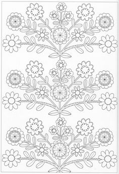 Embroidery Pattern from Scandinavian Coloring Book Pg This Image Only. Pattern Coloring Pages, Flower Coloring Pages, Coloring Pages To Print, Coloring Book Pages, Coloring Pages For Kids, Coloring Sheets, Hand Embroidery Patterns, Applique Patterns, Color Patterns