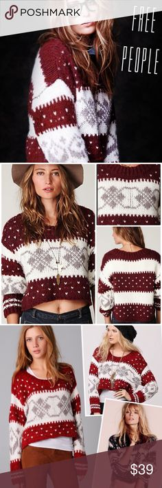 Free People Fairisle Crop Chunky Pullover Sweater. Knitted fairisle cropped chunky pullover sweater. High-low style.  Dark red, white and gray. Size XS New without tag Free People Sweaters