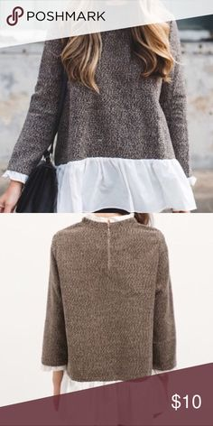 Tweed Blouse Tweed, flowy blouse; fits large and very comfortable 👚 Tops Blouses