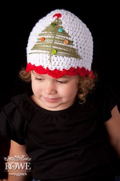 Crochet christmas hat- Newborn-Adult   - Christmas hat, christmas beanie, tree hat, newborn hat, baby hat