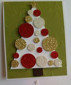 Sparkly Christmas Tree Christmas Card Decorations, Christmas Card Crafts, Homemade Christmas Cards, Handmade Christmas, Christmas Tree Canvas, Easy Crafts For Kids, Scrapbook, Christmas Crafts For Kids, Craft Ideas