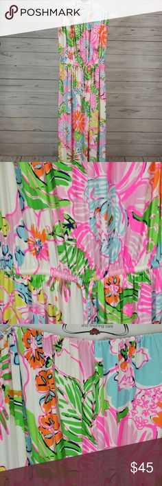 Lily Pulitzer For Target Strapless Pull On Dress Lily Pulitzer Women's Strapless Pull On Dress Floral Design Size: Large. Excellent pre owned condition.  No wears or tears. See pics to appreciate! Lilly Pulitzer Dresses Strapless