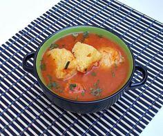 Supa de rosii cu galuste din gris