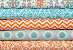 Premier Prints fabric including orange and grey, aqua / turquoise. I am in love with this color scheme!!!! ❤❤
