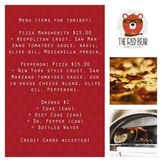 Our menu for the night #theredbear