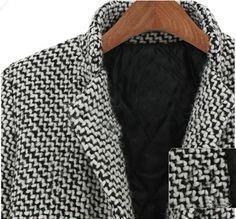 Black White Notch Stand Collar Long Sleeve Oversize Houndstooth Coat -SheIn(Sheinside) Mobile Site