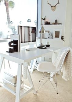Pretty white home office ideas...