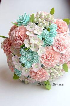 """Купить Шикарный букет невесты 35 см """"Секрет Тиффани"""" - мятный, тиффани, розы, ягоды"""