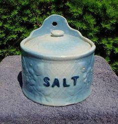 Blue and White Stoneware Apple Blossom Salt Crock & Lid Salt Cellars, Sugar Bowls, Blue Dishes, Salt Box, Blue Onion, Glazes For Pottery, Cream And Sugar, Vintage Glassware, Salts