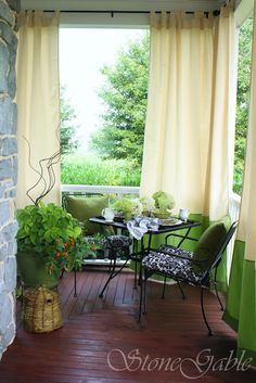 pretty porch decor~my Mimi needs these curtains!