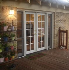 French exterior doors with screens are a contemporary choice French Doors With Screens, Sliding French Doors, French Doors Patio, Windows And Doors, French Patio, French Doors With Sidelights, Double Patio Doors, French Doors Bedroom, Double French Doors