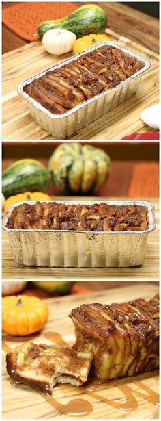 Caramel Pumpkin Pull Apart Bread: