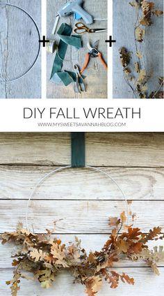 My Sweet Savannah: DIY easy oak leaf fall wreath