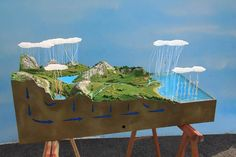 How to Make Models: Water Cycle Model Science Fair Projects, School Projects, Projects For Kids, Science For Kids, Science Activities, Water Cycle Model, Diorama, Water Cycle Project, High School Biology