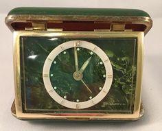 VINTAGE GREEN BULOVA TRAVEL ALARM CLOCK IN CASE WORKS