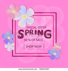 Spring Sale Background with Colorful Flowers for your design. Vector Illustration. Template for Banner, Poster, Brochure, Voucher discount.