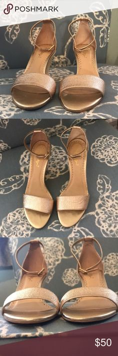 ✨LILLY WEDGES✨ Lilly Pulitzer metallic gold wedges. Size 9. Worn twice. Once at wedding rehearsal the other at the reception. My feet are too wide unfortunately 😕   Upon finding box I realized these were actually 198$ and not 98$ so I have edited the price to reflect so. Lilly Pulitzer Shoes
