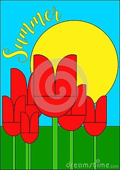 A nice naife landscape with red tulips and a shiny yellow sun on blue sky - Vector