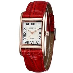 #TBDress - #TBDress Roman Numerals Square Watch PU Leather Strap - AdoreWe.com