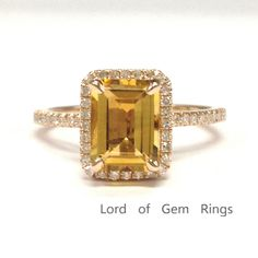 $419 Emerald Cut Citrine Engagement Ring Pave Diamond Wedding 14K Rose Gold 6x8mm