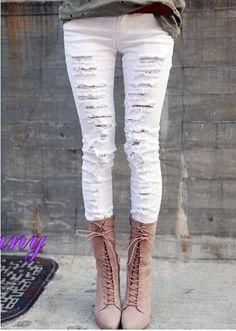 Fabric: Cotton Blend  Color: White , Black  Size: 26,27,28,29,30,31  Size (cm):  26: Waist 68 , Hip 88 , thighs 47 , pants length 95,  27: Waist 70 , Hip 90 , thighs 49 , pants length 96 ,  28: Waist 72 , Hip 92 , thighs 51 , pants longth 97,  29: Waist 74 , Hip 94 , thighs 53 , pants le...