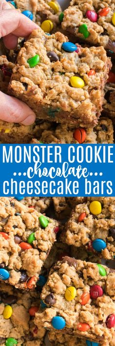 These Monster Cookie Chocolate Cheesecake Bars are the best of both worlds! If you love chocolate, and cookies, and cheesecake, these bars are for YOU! Creamy chocolate cheesecake sandwiched between two delicious layers of yummy monster cookies....these bars are loaded with peanut butter, oatmeal, chocolate chips, m&m's, and so much more. They're easy to make and perfect for feeding a crowd, making them a delicious choice for holidays, birthdays, and parties. Best of all, everyone LOVES…