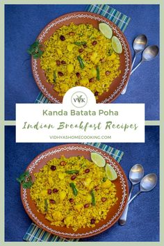 Quick, easy, and flavorful breakfast recipe with flattened rice. Here is the famous kanda batata poha – flattened rice with onions and potatoes recipe with detailed step-wise pictures. #indianbreakfast #breakfastrecipe #batatapoha #poha #southindian #vegetarian #healthy | vidhyashomecooking.com @srividhyam Vegetarian Platter, Vegetarian Appetizers, Vegetarian Food, Amazing Vegetarian Recipes, Delicious Vegan Recipes, Poha Recipe, Using A Pressure Cooker, Indian Food Recipes, Ethnic Recipes