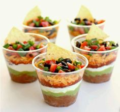 Make individual cups of dip to easily distribute #snacks at your party -Brought to you by Shoplet - everything for your business