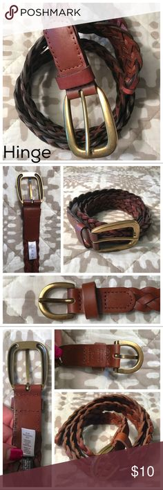 LARGE Hinge brown leather braided belt NWOT size large Hinge (for Nordstrom) brown leather belt. My mom bought this and never wore them. Very nice, rich color. Offers are always welcome 😊 Nordstrom Accessories Belts