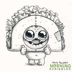 Chris Ryniak - morning scribbles - cute and funny art Taco Tuesday