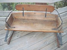 Antique Wagon Buggy Buckboard Seat With Leaf Springs Rustic Wooden Decor