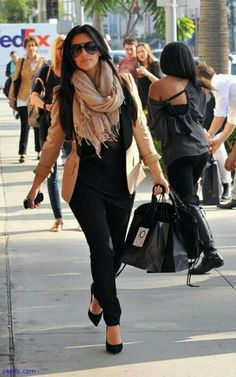 Scarf and black and tan outfit