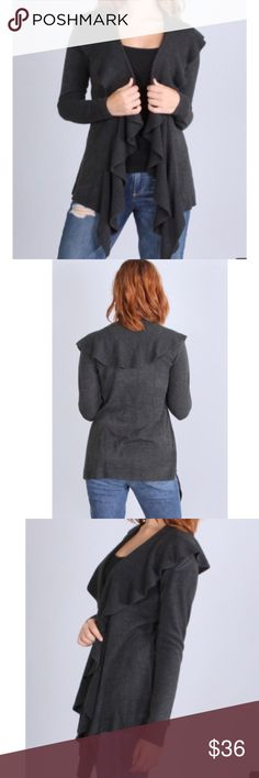 Ruffle front cardigan Beautiful draped ruffle front soft knit jacket PLEASE USE Poshmark new option you can purchase and it will give you the option to pick the size you want ( all sizes are available) BUNDLE And SAVE 10% ( sizes update daily ) price firm no trades Jackets & Coats