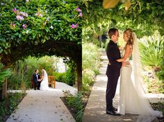 Greenery photo ops for the newlyweds. LVL Weddings & Events // Photography: Nathan Jaffan Photography// Floral: Bloomers La Jolla // Venue: Estancia La Jolla Hotel & Spa // DJ / Ceremony Musician: Kevin Miso // Cake: Sweet Lydia's of San Diego // Photo Booth: Shutterbooth // Dress: Katie May // Shoes: Badgley Mischka