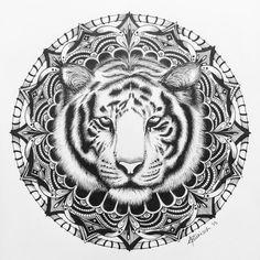 The completed piece #tiger #mandala #art #animal #blackandwhite #draw #illustration #ink #sketch