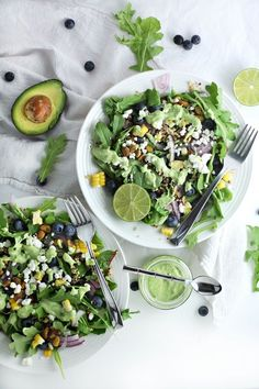 Blueberry Quinoa Salad with Avocado Cilantro Dressing (healthy vegetarian lunch recipe) by Drool-Worthy