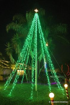 The Mega Tree at Copeland Christmas Christmas Tree Out Of Lights, Outdoor Christmas Light Displays, Outside Christmas Decorations, Xmas Lights, Diy Christmas Tree, Modern Landscaping, Landscaping Ideas, December, Small Yards