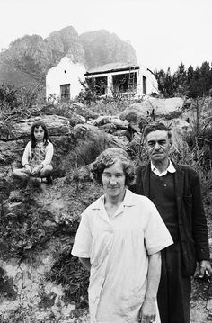 A protea grower and his family on their smallholding near Groot Drakenstein. They were uncertain of how long they would be able to continue there, for they feared removal under the Group Areas Act, near Paarl, Cape Province, David Goldblatt, Photo Report, Port Elizabeth, Pinterest For Business, African History, Portrait, Cape Town, Black And White Photography, Vintage Photos